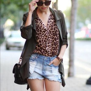H&M Leopard Blouse Shirt size 2 (small)